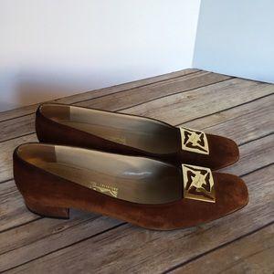 Salvatore Ferragamo SZ 10 brown Suede Heels Facile